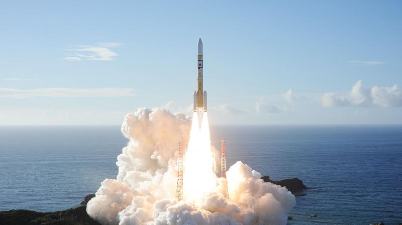 An H-2A rocket carrying the Hope Probe known as