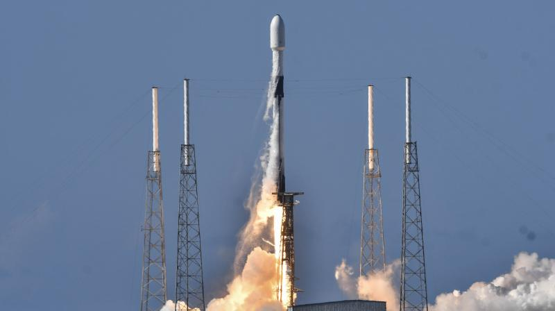 A SpaceX Falcon 9 lifts off from Cape Canaveral Air Force Station, Fla., Monday, July 20, 2020. The rocket is carrying ANASIS II, a national security satellite for South Korea. (AP)