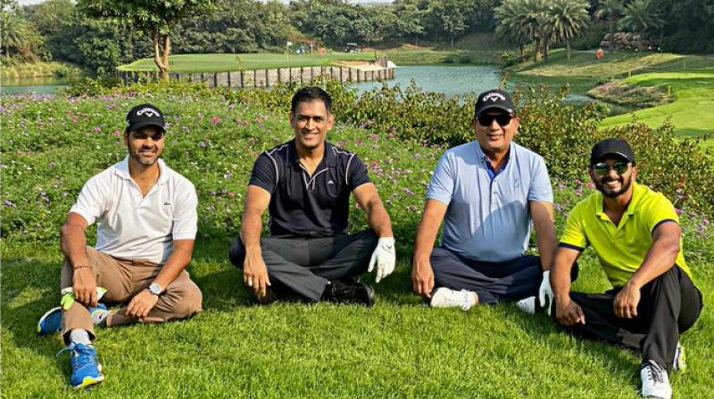 Indian wicket-keeper batsman and former skipper Mahendra Singh Dhoni is spending his off days from cricket by playing golf. (Photo:Twitter)