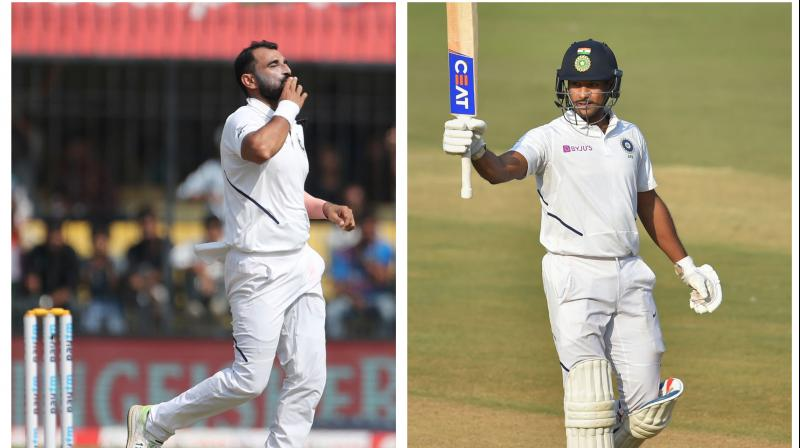Speedster Mohammed Shami and opener Mayank Agarwal on Sunday achieved their career-best positions in the latest ICC Test Rankings after contributing in India's innings and 130-run victory over Bangladesh in the first Test in Indore. (Photo:AP/PTI)