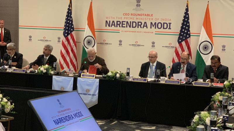 Earlier, the Prime Minister's Office (PMO) had posted on Twitter a couple of photographs of Modi's meeting with the chief executive officers (CEOs) of some of the top oil companies based in the US. (Photo: Twitter)