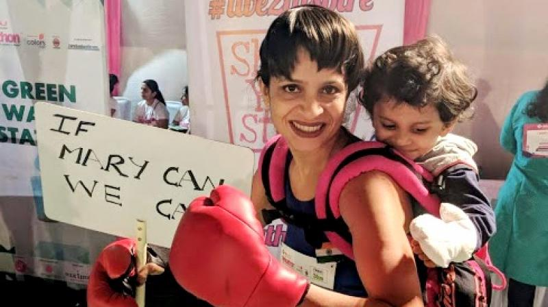 Marykom inspired mom as a mascot for baby wearing walk for 3kms at 'Pinkathon 2018.' (Photo: File)