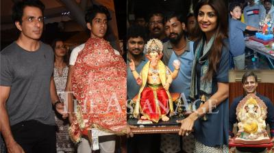 Last night, Bollywood as well as TV celebrities like Sonu Sood, Shilpa Shetty Kundra, Vivek Oberoi, Sanjay Dutt and others welcomed Lord Ganesha at home for the 11-day Ganpati festival. (Photos: Viral Bhayani)