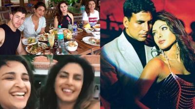 Priyanka Chopra with Parineeti Chopra, Nick Jonas and Akshay Kumar.