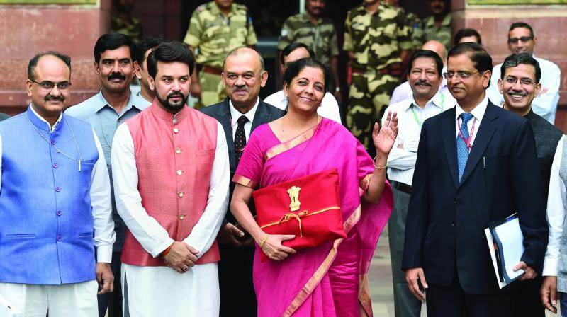 Finance Minister Nirmala Sitharaman before announcing the Budget in 2019.