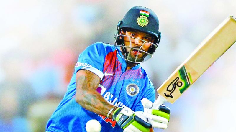 Shikhar Dhawan en route to his fifty in the third and final T20I against Sri Lanka in Pune on Friday. (Photo: AP)