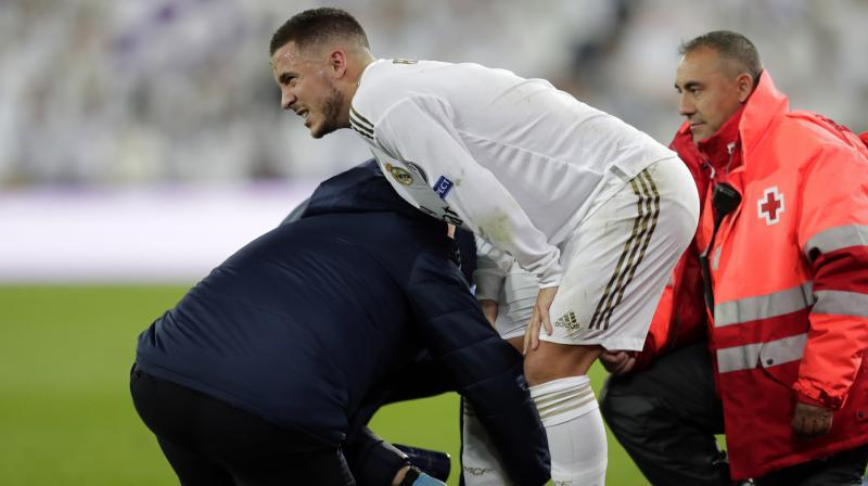 Zinedine Zidane confirmed Eden Hazard twisted his ankle during Real Madrid's draw against Paris Saint-Germain on Tuesday, with the Clasico against Barcelona only three weeks away. (Photo:AP)