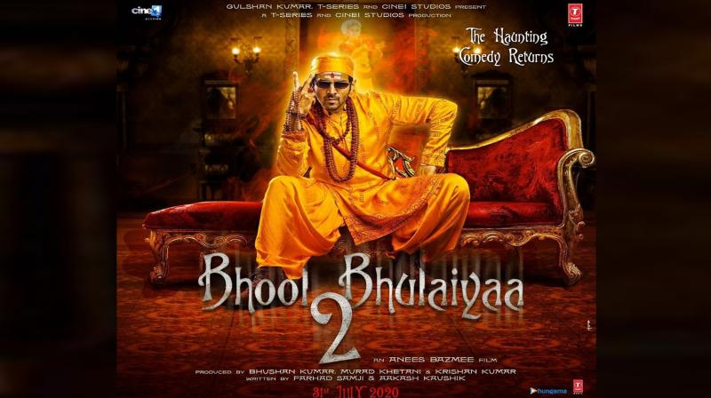 Kartik Aaryan featuring in Bhool Bhulaiyaa 2 poster. (Photo: Instagram)