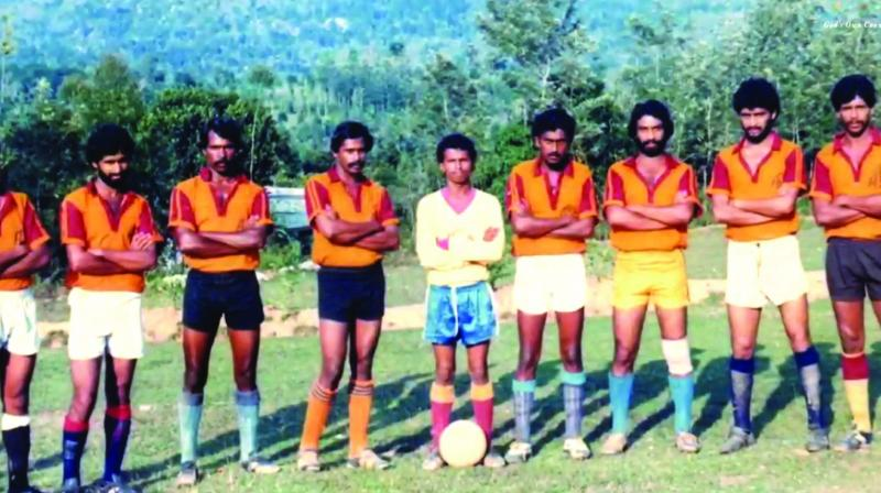 An old picture of the Ambalavayal F.C. team