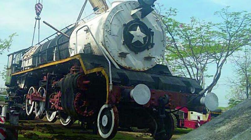 The engine is currently at Jhansi, en-route to the 'steam loco shed' at Rewari.