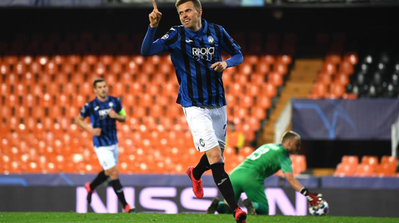 NO MAKING MISTAKE: Atalanta's Josip Ilicic seems to say after scoring his fourth goal during the Champions League round of 16 second leg match against Valencia in Valencia, Spain, on Tuesday. AP Photo