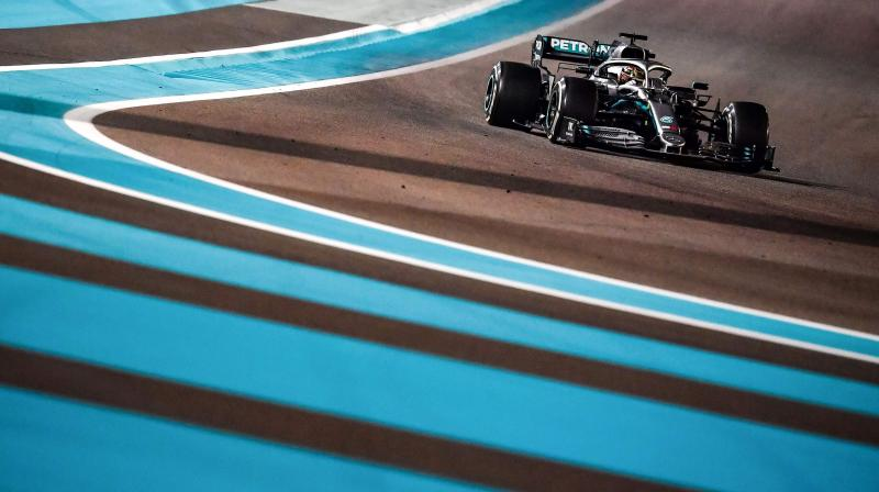 In this file photo taken on December 1, 2019, Mercedes' British driver Lewis Hamilton steers his car at the Yas Marina Circuit in Abu Dhabi, the final race. AFP Photo