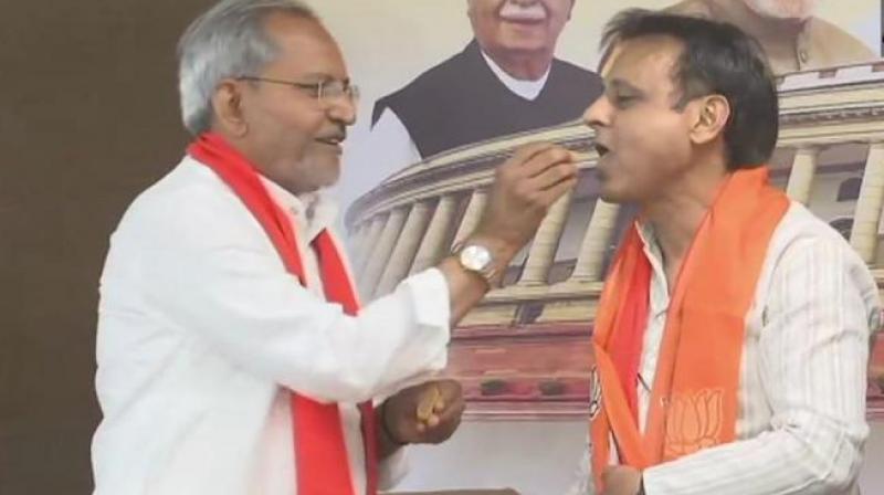 Senior Congress leader Jawahar Chavda joins BJP on Friday soon after resigning from the Gujarat Legislative Assembly. (Photo: Twitter/ ANI)