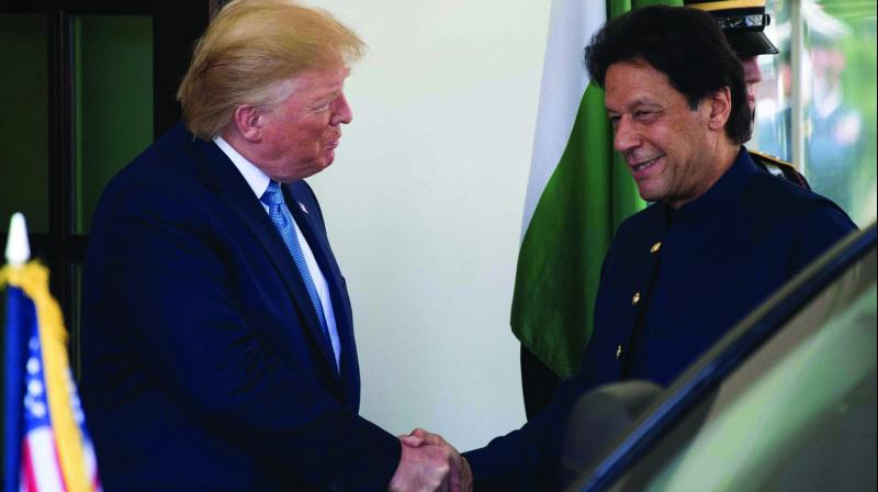 US President Donald Trump greets Pakistan Prime Minister Imran Khan at the White House in Washington DC on Monday. (Photo: AFP)