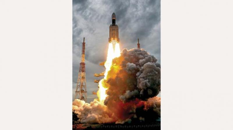 India's second Moon mission Chandrayaan-2 lifts off onboard GSLV Mk III-M1 launch vehicle from Satish Dhawan Space Centre at Sriharikota in Andhra Pradesh on Monday. (Photo: PTI)