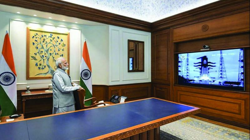 Prime Minister Narendra Modi watches the successful launch of Chandrayaan-2 in New Delhi on Monday. (Photo: PTI)