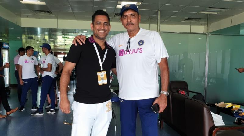 A notable absentee for the duration of the Test, former India skipper Mahendra Singh Dhoni finally showed up after India wrapped up the Test series against South Africa here, posing with coach Ravi Shastri among others. (Photo:BCCI)