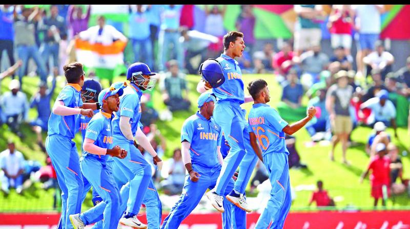 Indian team celebrate during the ICC U-19 World Cup final at Potchefstroom. (Photo: ICC)