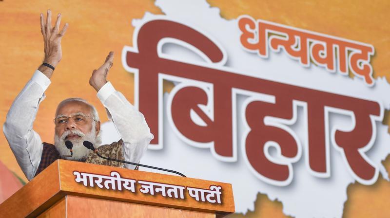 PM Modi addressing his party's worker in New Delhi. (PTI)