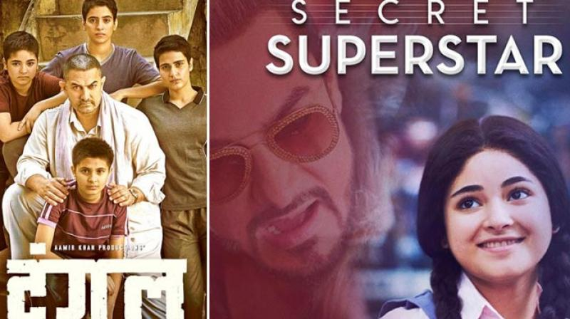 Posters of 'Dangal' and 'Secret Superstar.'