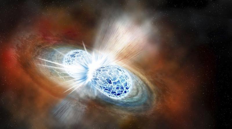 A rendering of a neutron star merger.