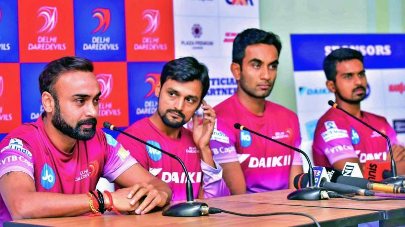 Delhi Daredevils' spinners Amit Mishra, Shahbaz Nadeem and Jayant Yadav.