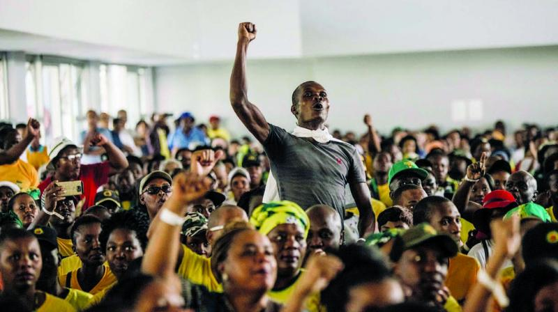 Supporters of South African President Jacob Zuma at a memorial service held in Durban in honour of anti-apartheid icon Ahmed Kathrada. (Photo: AFP)
