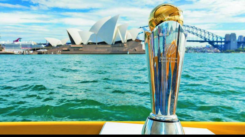 The Champions Trophy on display in Sydney during the Australia leg of the trophy tour on Tuesday. (Photo: ICC)