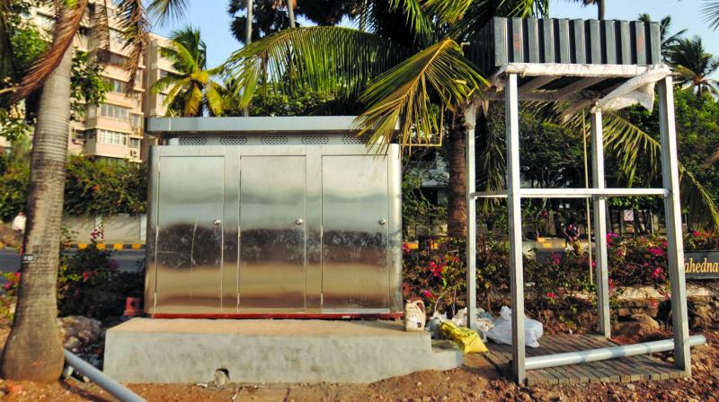 The urinal, which is going to be open soon, that is located near Salim Khan's house at Bandstand in Bandra. (Photo: Debasish Dey)