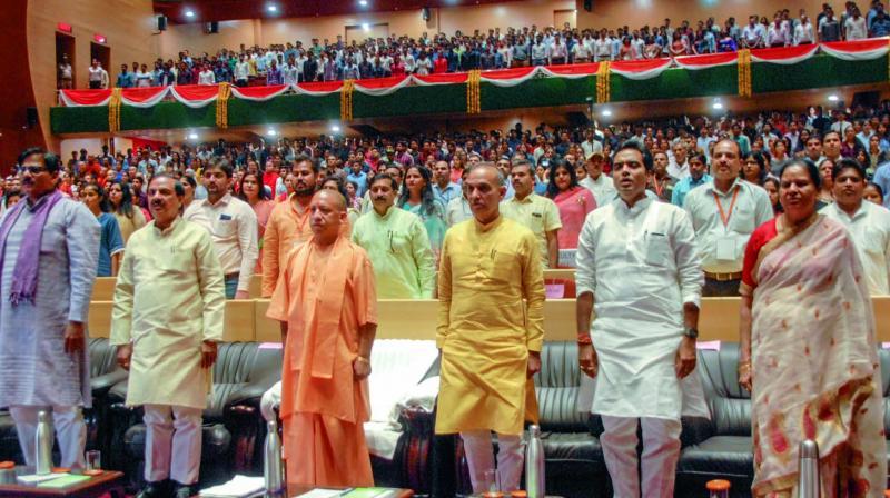 Uttar Pradesh chief minister Yogi Adityanath with other delegates at the orientation session of Gautam Buddha University in Greater Noida. (Photo: PTI)