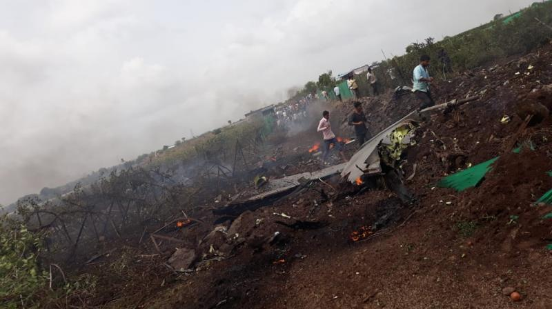 Sukhoi Su-30MKI fighter jet crashed near Nashik in Maharashtra when it was on a test flight. (Photo: Twitter | ANI)