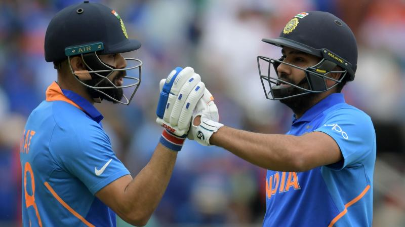 Rohit smashed another astounding century, his fourth in the tournament, and went on to play a knock of 104-run. Recently Kohli also became the quickest batsman to complete 20,000 international runs after he touched the milestone in his 417th innings. (Photo: AFP)