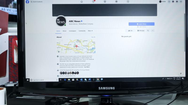 An Australian Broadcasting Corporation page on Facebook is displayed without posts in Sydney, Thursday, February 18, 2021. Facebook is vowing to restrict news sharing as Australian lawmakers consider forcing digital giants into payment agreements. (AP /Rick Rycroft)