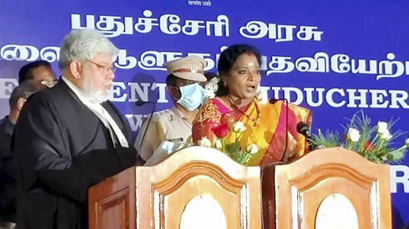 Telangana Governor Tamilisai Soundararajan being sworn in Lt Governor of Puducherry, an additional charge, by Chief Justice of Madras High Court Sanjib Banerjee during a brief ceremony at Raj Nivas in Puducherry, Thursday, February 18, 2021. (PTI)