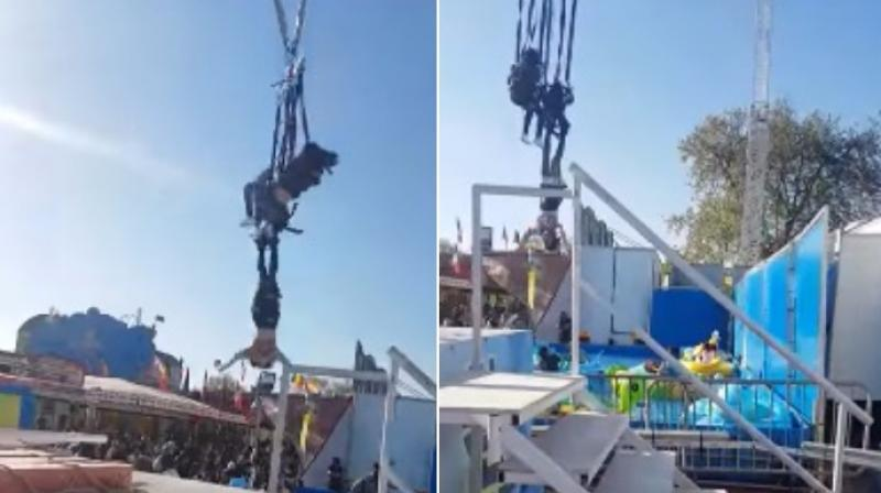 While people tried to catch her mid-way they missed and she escaped a few near-death hits from neighbouring equipment. (Photo: Youtube)