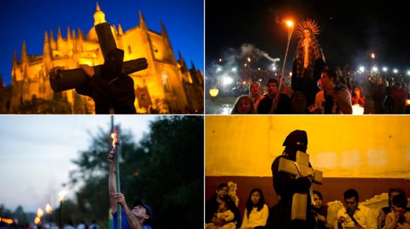 Worshippers in Mexico, Cuba, Guatemala, Paraguay and Spain walk the streets enacting the crucifixion of Jesus Christ three days before the resurrection on Easter Sunday. (Photo: AP)
