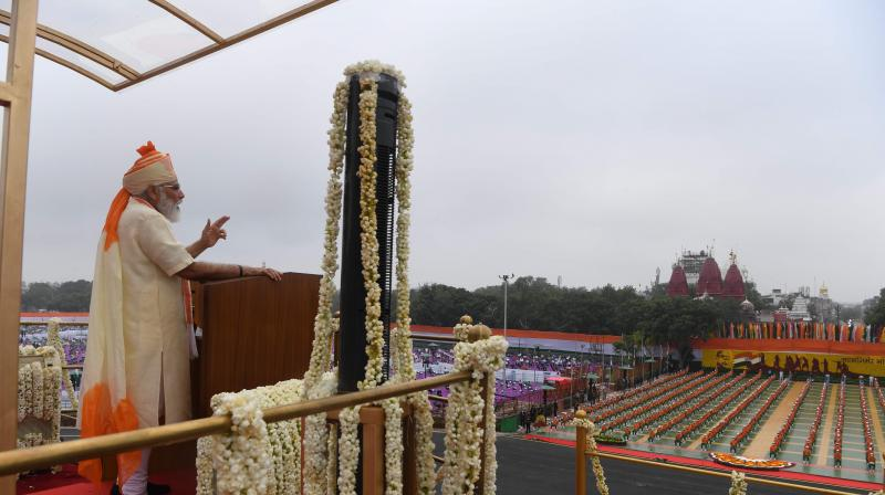 In his speech from Red Fort, the prime minister did say India's armed forces deployed on the border with two countries have given a fitting reply to those who sought to challenge India's sovereignty. PTI Photo