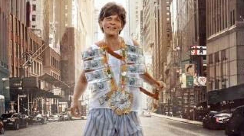 Shah Rukh Khan holding a 'kirpan' in the movie's poster and trailer.