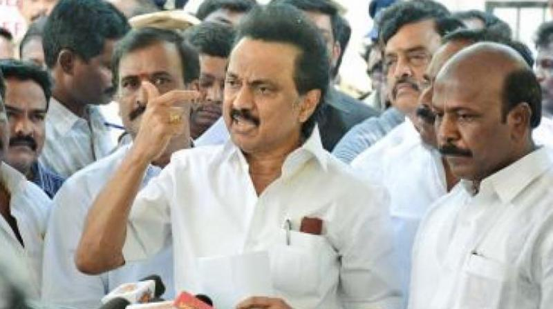 MK Stalin led the walkout of his party members objecting to the removal of comments. (Photo:File)