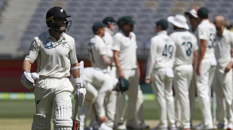 New Zealand talisman Kane Williamson fell to a fired-up Australia before the first break on the fourth day of the opening test on Sunday, as the tourists' daunting run chase on a deteriorating Perth Stadium pitch got off to a disastrous start. (Photo:AP)