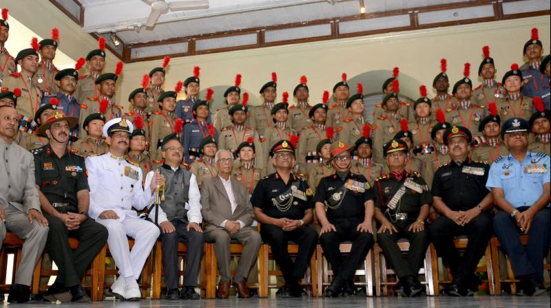 West Bengal governor Keshari Nath Tripathi poses for a photo with NCC cadets who were awarded Governor's Medals, at Raj Bhavan in Kolkata. (Photo: Abhijit Mukherjee)