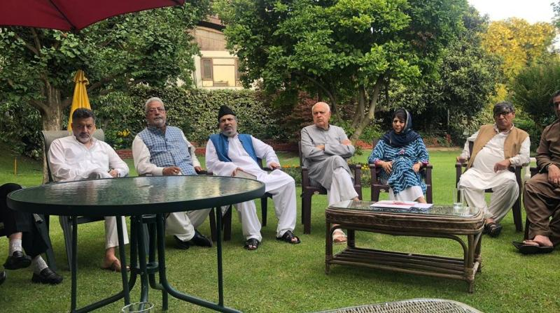 The meeting was attended by Mufti, Omar Abdullah, Taj Mohiuddin (Congress), Muzaffar Beig (PDP), Sajad Lone and Imran Ansari (People's Conference), Shah Faesal (J&K Peoples Movement) and MY Tarigami (CPI-M). (Photo: Omar Abdullah | Twitter)