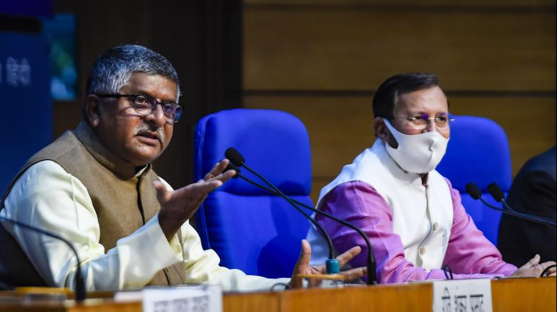 Union Ministers Ravi Shankar Prasad and Prakash Javadekar in New Delhi, Wednesday, Feb. 24, 2021. (PTI)