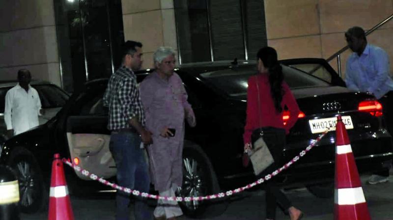 Javed Akhtar at the hospital