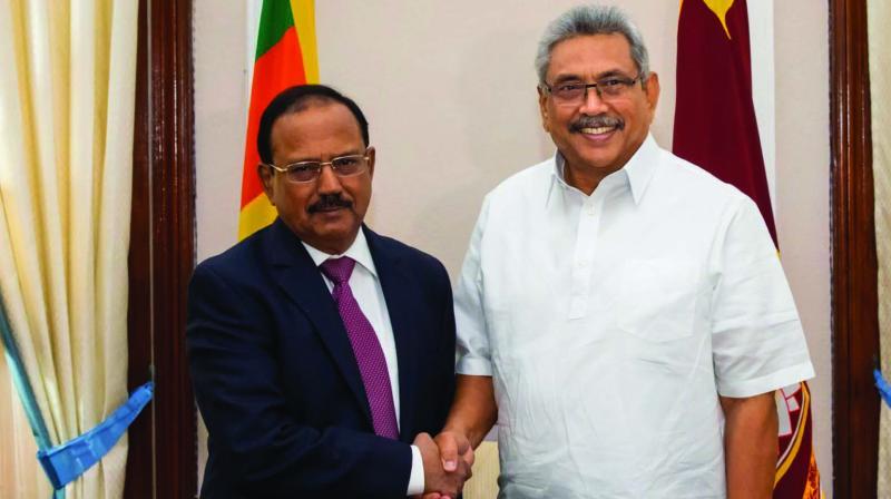 National security advisor Ajit oval meets Sri Lanka President Gotabaya Rajapaksa in Colombo on Saturday. (Photo: Twitter)
