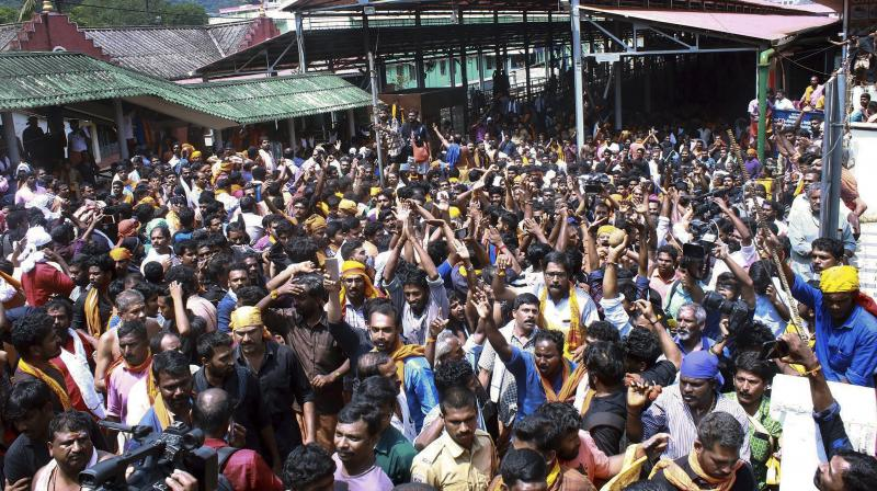 Kerala Police has released photographs of over 200 people suspected to have been involved in the protests at Sabarimala to prevent the entry of women of menstrual age into the Lord Ayyappa shrine last week. (Photo: File   PTI)