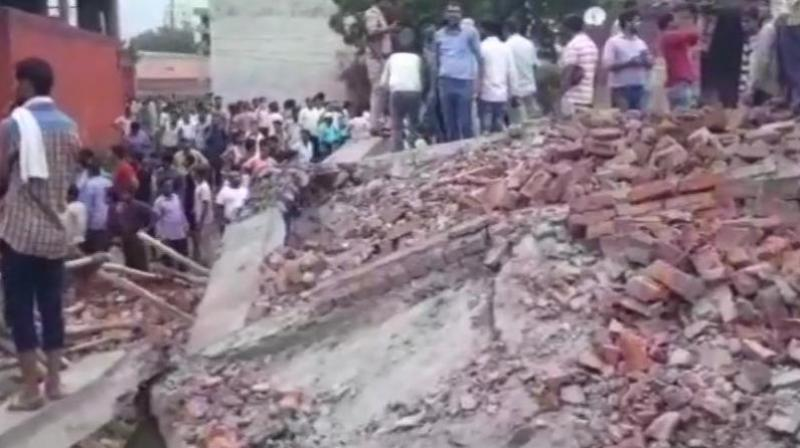 Teams of the National Disaster Response Force, police and fire department have reached the spot (Photo: Twitter | ANI)