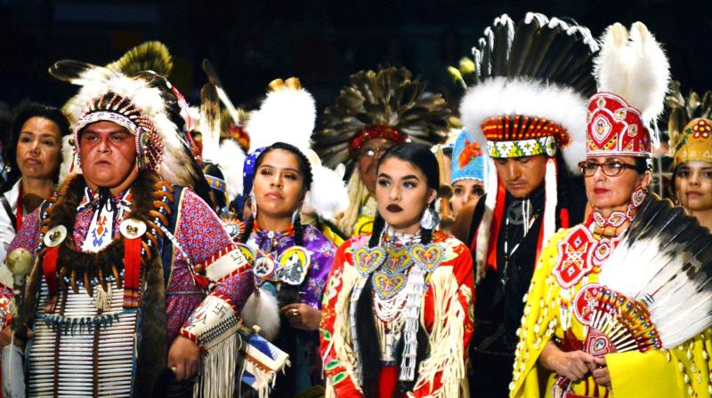 Native American dancers from the United States and Canada take part in the grand entry to the Gathering of Nations in Albuquerque, New Mexico. (Photo: AP)