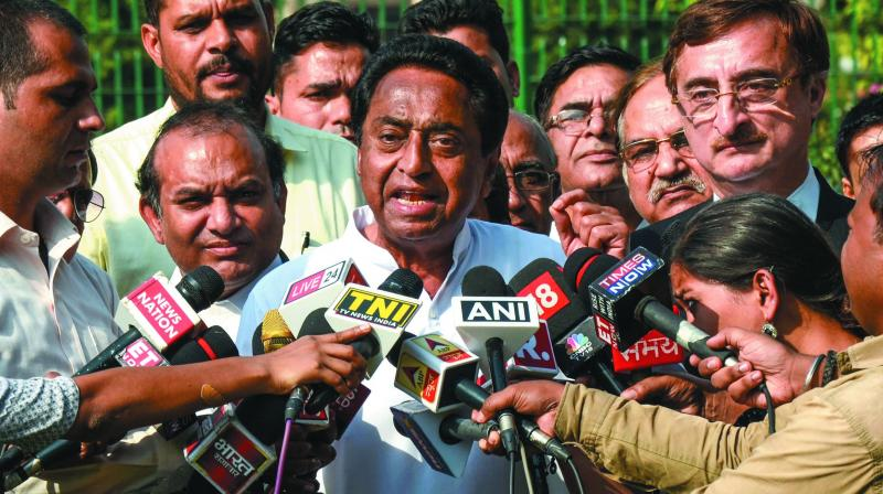 A file photo of Madhya Pradesh CM Kamal Nath addressing a press conference.