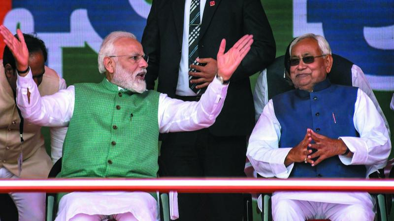 A file photo of Bhihar chief minister Nitish Kumar with Prime Minister Narendra Modi during a rally in the state.